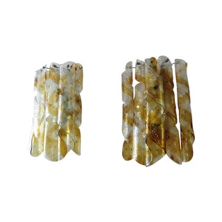 Mazzega Torciglione Murano Glass Sconces - A Pair