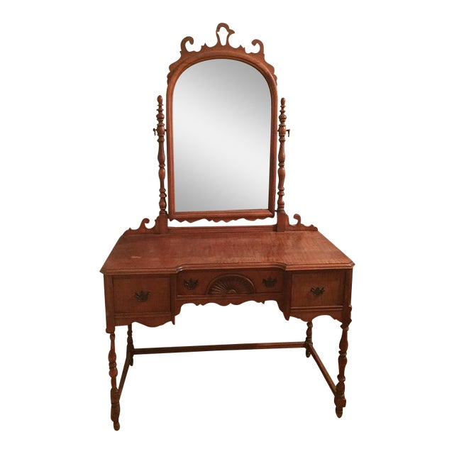 Antique Federal Maple Mirrored Vanity - Image 1 of 8
