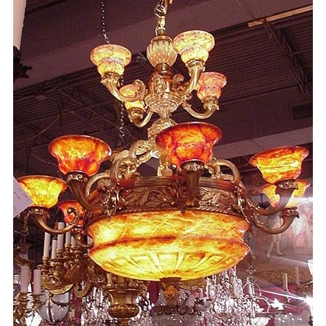 Antique Two-Tiered Gilt Bronze and Alabaster Chandelier - Image 5 of 7