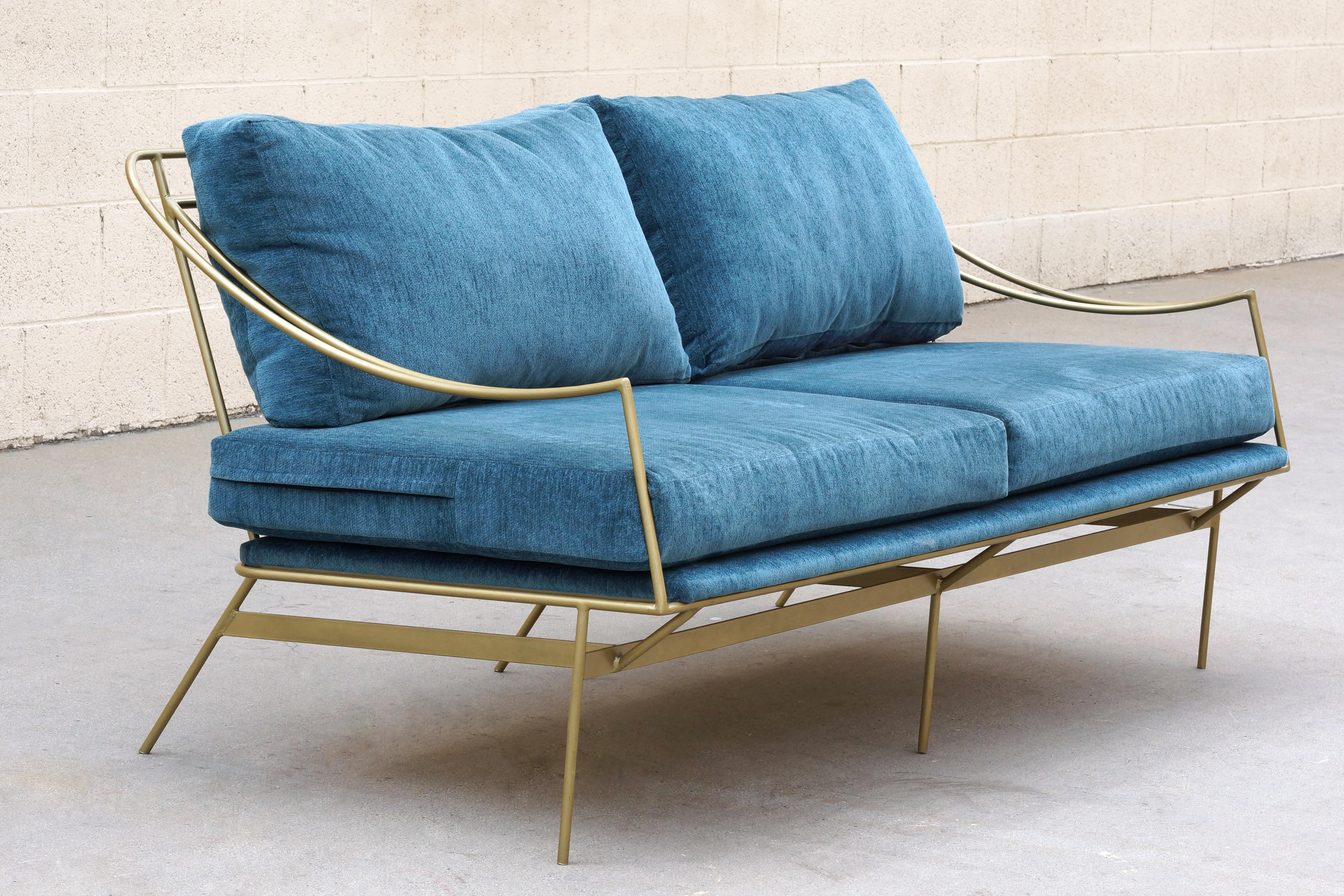 Charmant Fabric Custom 1960s Inspired Hairpin Sofa By Rehab Vintage Interiors For  Sale   Image 7 Of