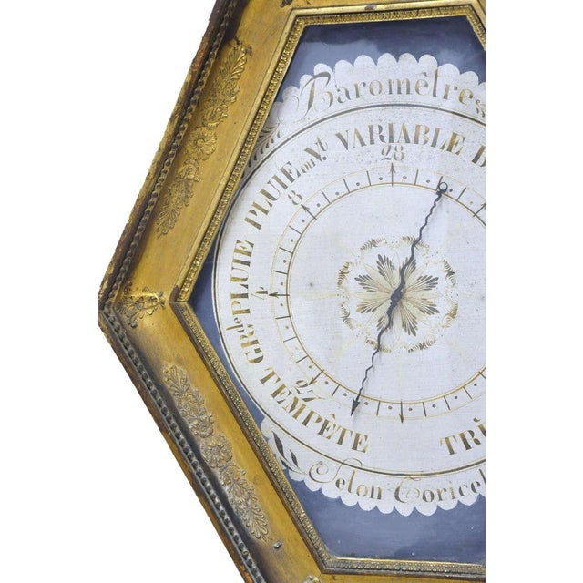 Mid 18th Century 18th Century French Louis XVI Carved Gold Leaf Hexagonal Barometer For Sale - Image 5 of 7