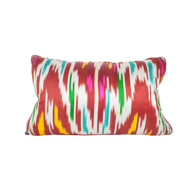 Ikat Silk Pillow Made of Collected Uzbekistan Ikat For Sale - Image 4 of 4