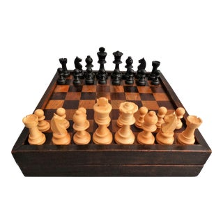Early Double Games Board with Inlay & Chess Pieces