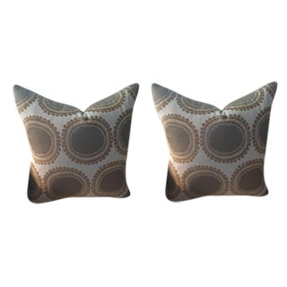 Kravet Pillows in Toffee Brown & Gray Geometric Woven Dots on Ivory - a Pair For Sale