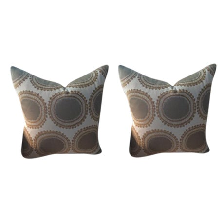 Kravet Pillows in Toffee Brown & Gray Geometric Woven Dots on Ivory - a Pair - Image 1 of 6