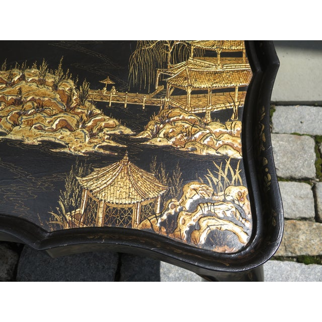 Vintage Chinoiserie Decorated Large Coffee Table For Sale - Image 4 of 8