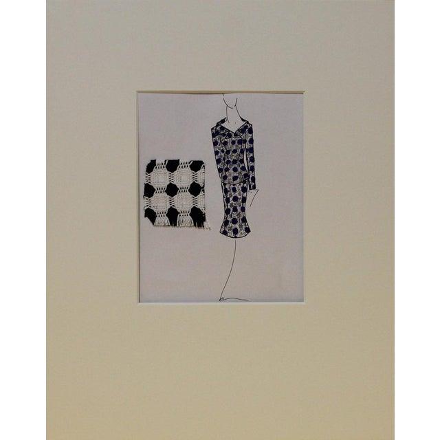 Illustration Navy & White Suit Fashion Illustration For Sale - Image 3 of 3