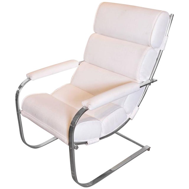 Machine Age Art Deco Gilbert Rohde for Troy Sunshade Flat Band Springer Chair For Sale