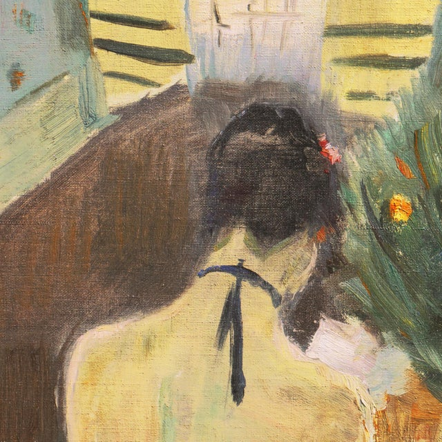 Canvas 'Jeune Femme Liseuse' by Carl Fischer, Paris, Charlottenborg, Danish Post Impressionist, Benezit For Sale - Image 7 of 9