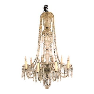 Pair Antique Early 19th Century English Crystal Chandeliers. For Sale