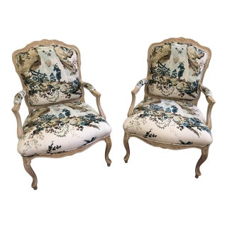 French Bergere Style Armchairs - a Pair For Sale