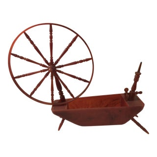 Orange Marbleized Bakelite Spinning Wheel