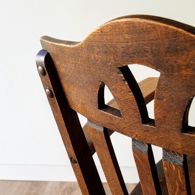 Early 20th Century Arts + Crafts Oak Rocking Chair For Sale - Image 11 of 13