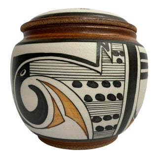 Acoma Native American Pottery Pot With Lid, Signed Tina For Sale