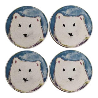 Mackenzie Childs Polar Bear Ceramic Coasters - Set of 4 For Sale