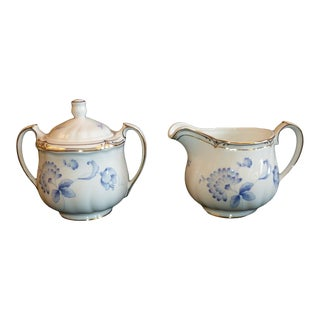 Ashbury Wedgwood Bone China Creamer & Covered Sugar Bowl Set Made in England - 2 Pieces For Sale
