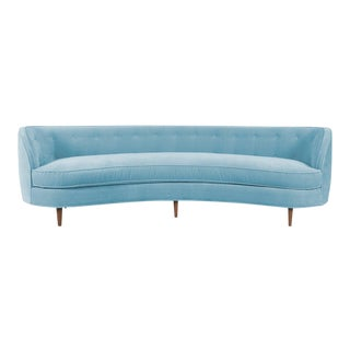 St. Tropez 2 Curved Sofa in Capri Blue Velvet
