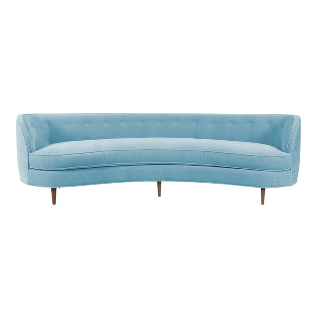 St. Tropez 2 Curved Sofa in Capri Blue Velvet For Sale