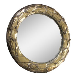 1980s Gilded Wreath Framed Convex Mirror For Sale
