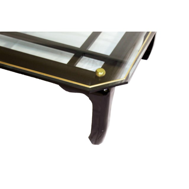 Metal Vintage Ming-Style Chinoiserie Black Lacquered & Gold Brass Coffee Table With Glass Top For Sale - Image 7 of 13