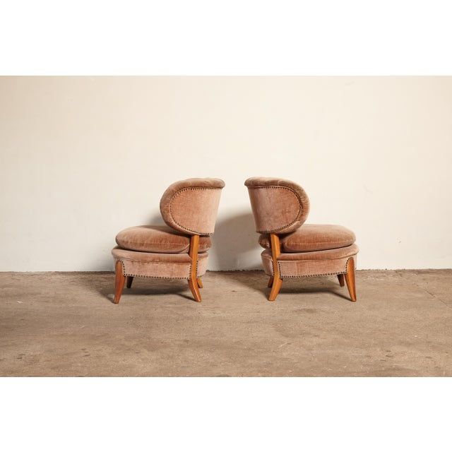 Brown Pair of Otto Schulz 'Schultz' Easy Chairs, Sweden, 1940s-1950s For Sale - Image 8 of 11