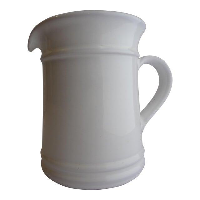 Goldsmith Glazed White Ceramic Pitcher For Sale