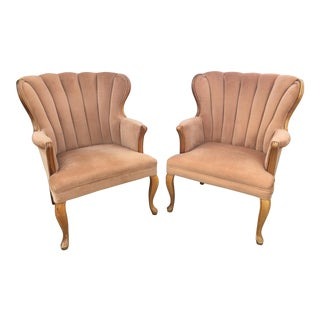 Vintage Queen Anne Channel Wingback Chairs, a Pair
