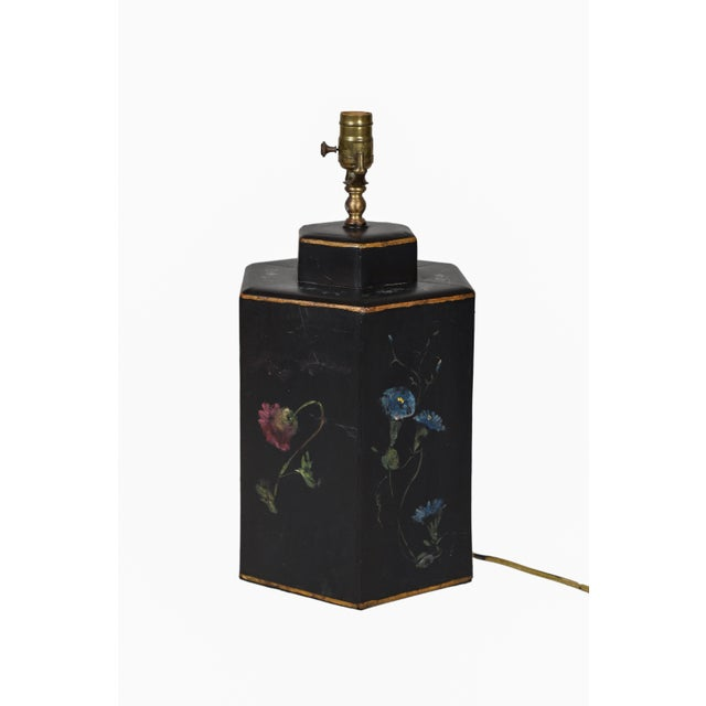 1970s Vintage English Export Floral Style Tea Caddy Lamp For Sale - Image 5 of 8