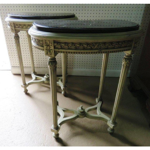 White Pair of Petite Demilune Consoles For Sale - Image 8 of 12