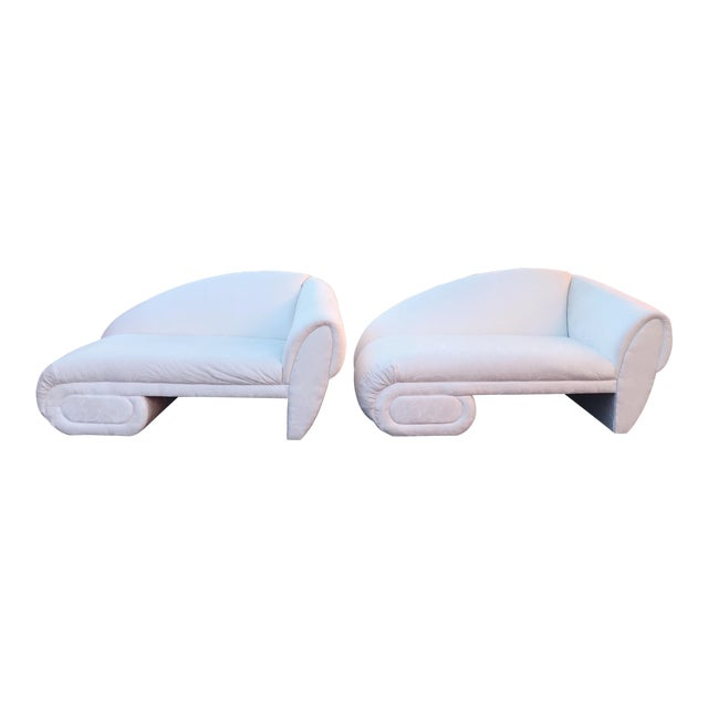 Sculptural Cloud Chaise Lounge Sofas by Marge Carson -A Pair For Sale