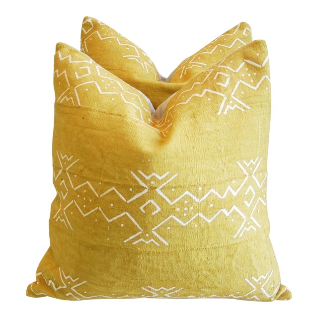 Handwoven Tribal Textile Feather/Down Pillows - Pair - Image 1 of 11
