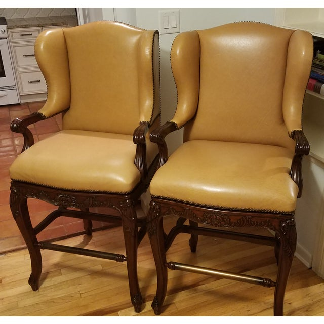 Frontgate Mustard Bar Stools - A Pair - Image 2 of 9