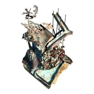Kinetic Brutalist Copper Grist Mill Sculpture on Granite Base Signed Prescott, 1973 For Sale