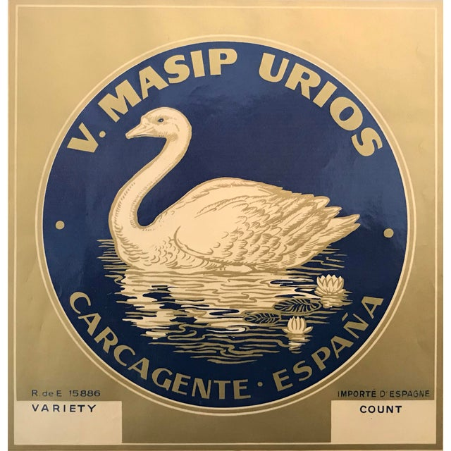 Original Matted 1940s Spanish Label, Golden Swan Brand For Sale - Image 4 of 5