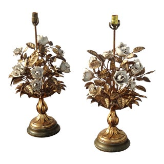 Pair Vintage Italian Tole Gold Gilt Metal White Floral Table Lamps Lights For Sale