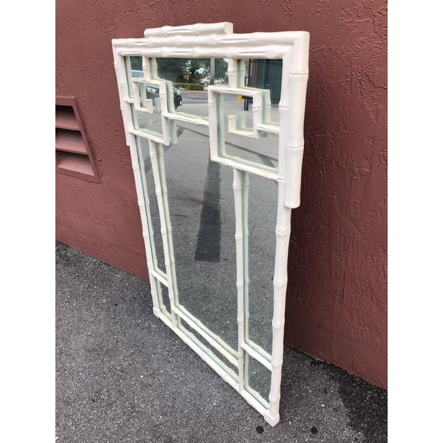 Hollywood Regency 1970s Vintage Hollywood Regency White Greek Key and Faux Bamboo Vertical Mirror For Sale - Image 3 of 5