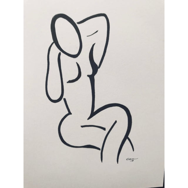 """Contemporary Original Minimalist Figure Drawing """"Seated Figure"""" For Sale - Image 3 of 7"""