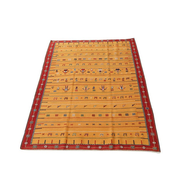 Early 20th Century Vintage Rare Nomadic Persian Tribal Kilim Rug - 6′10″ × 10′1″ For Sale - Image 5 of 5