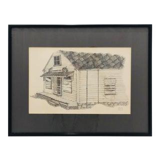 Vintage Sketch in Frame - Deer Isle, Maine For Sale