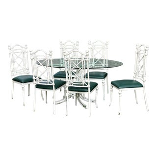 Mid-Century Iron & Metal Indoor or Outdoor Dining Set - 7 Pieces For Sale