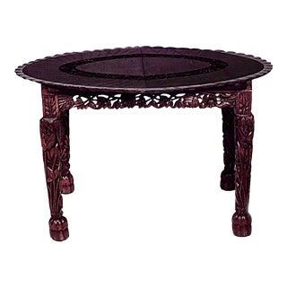 Asian Burmese Style Walnut Oval Dining Table For Sale