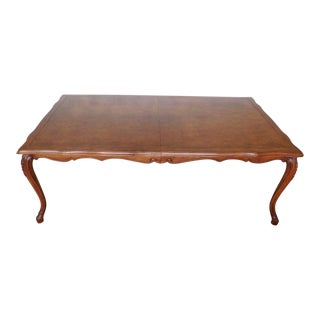 Large Fruitwood & Burl Elm French Country Louis XV Style Karges Dining Room Table W/ 2 Leaves C1990s