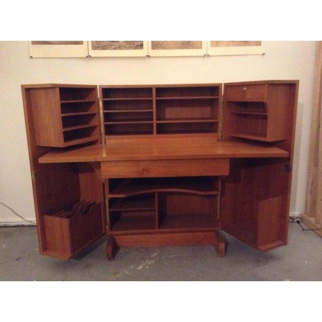 Mid-Century Modern Folding Secretary Desk For Sale - Image 4 of 11