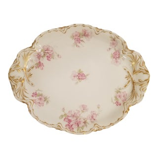 Haviland Limoges Rambling or Wild Pink Rose Platter with Gold Trim For Sale