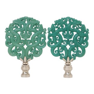 Stone Scroll Lamp Finials - a Pair For Sale