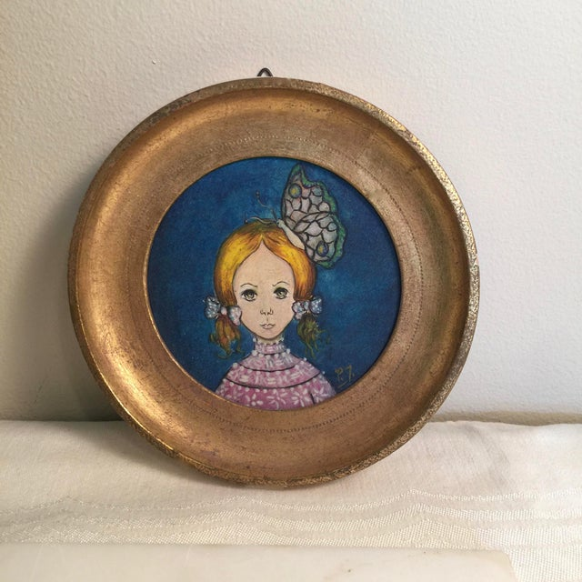 1960s 1960s Vintage Round Painting in Gilt Frame, Signed For Sale - Image 5 of 5
