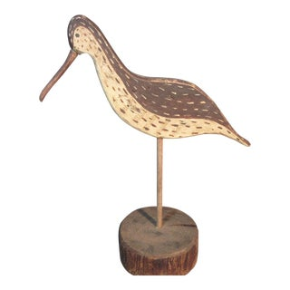 Anderson Woodcrafts Folk Art Sandpiper Shorebird Hand Carved Flattie Decoy For Sale