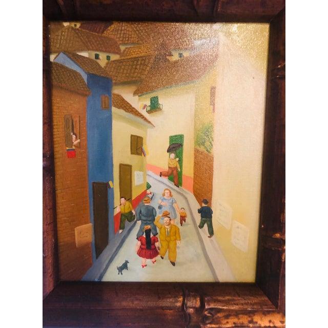 Impressionist Oil on Canvas Street Scene - Framed For Sale - Image 3 of 8