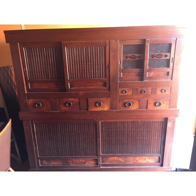 Amazing antique Japanese Kitchen Tansu with lots of storage. Excellent conditon with minor wear , beautiful iron handles....