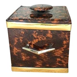Vintage Tortoise and Brass Hardware Ice Bucket Box